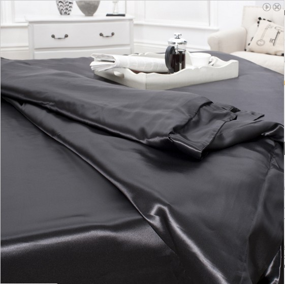 4 pcs 19MM Pure Silk Fitted Sheets Set Full size multi colors black(seamless)